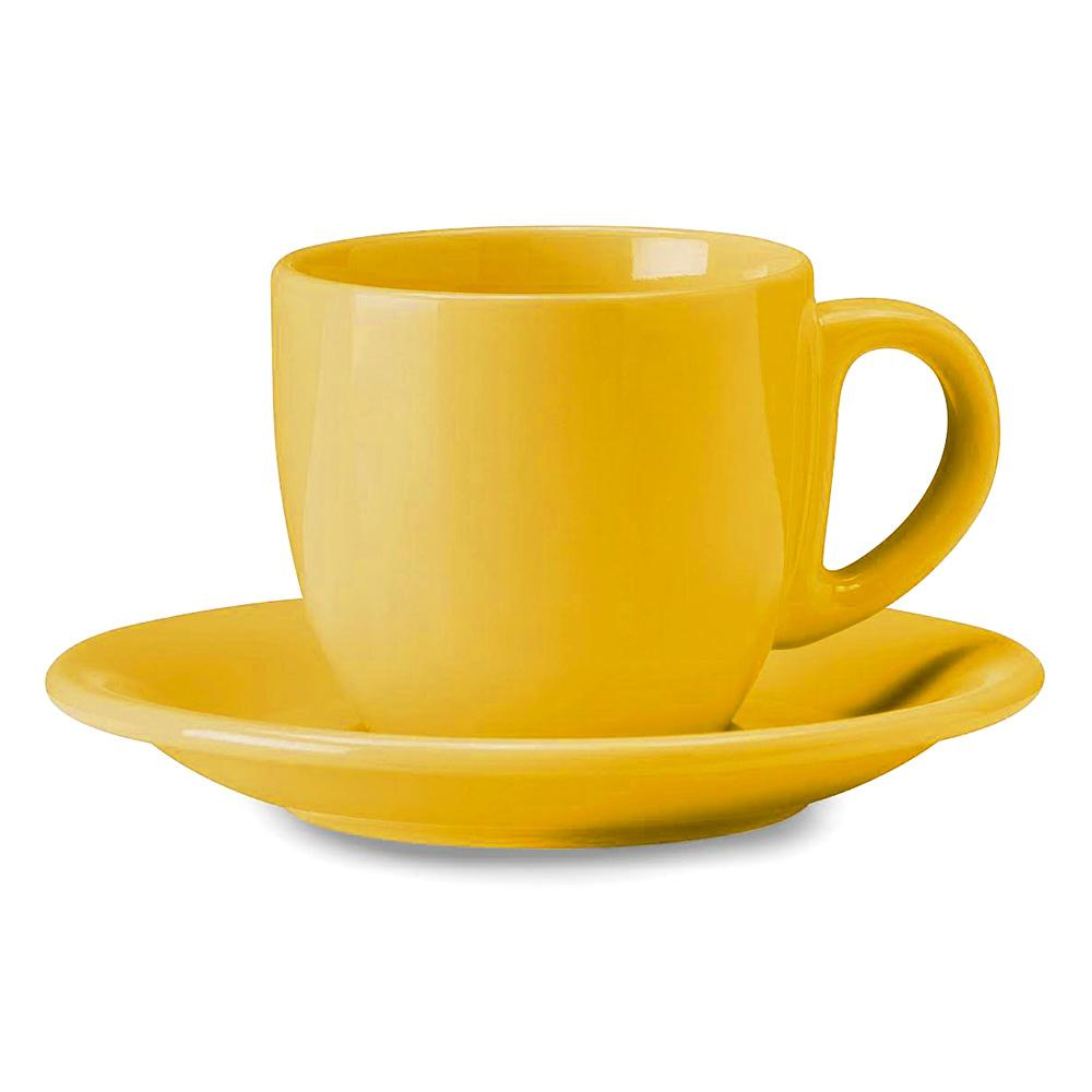 Image of Tazza da The Cappuccino con Piatto in Gres Kaleidos Giallo