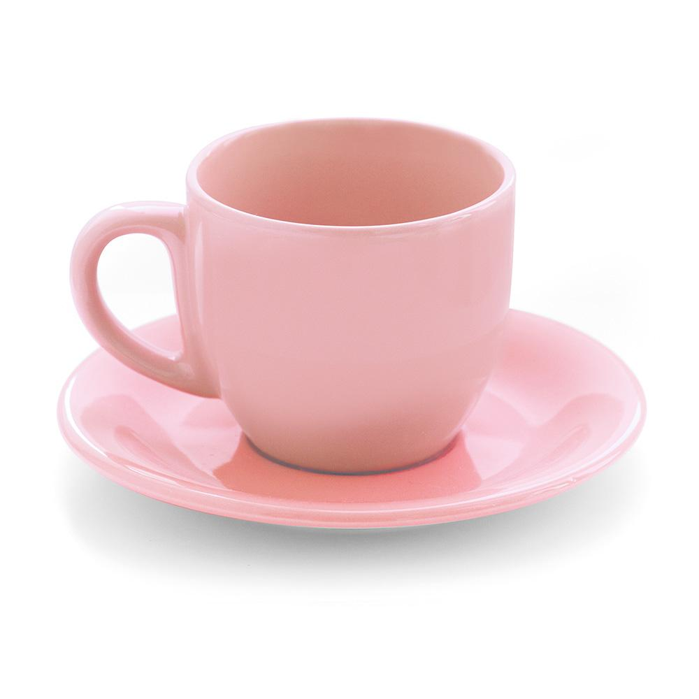 Image of Tazza da The Cappuccino con Piatto in Gres Kaleidos Rosa