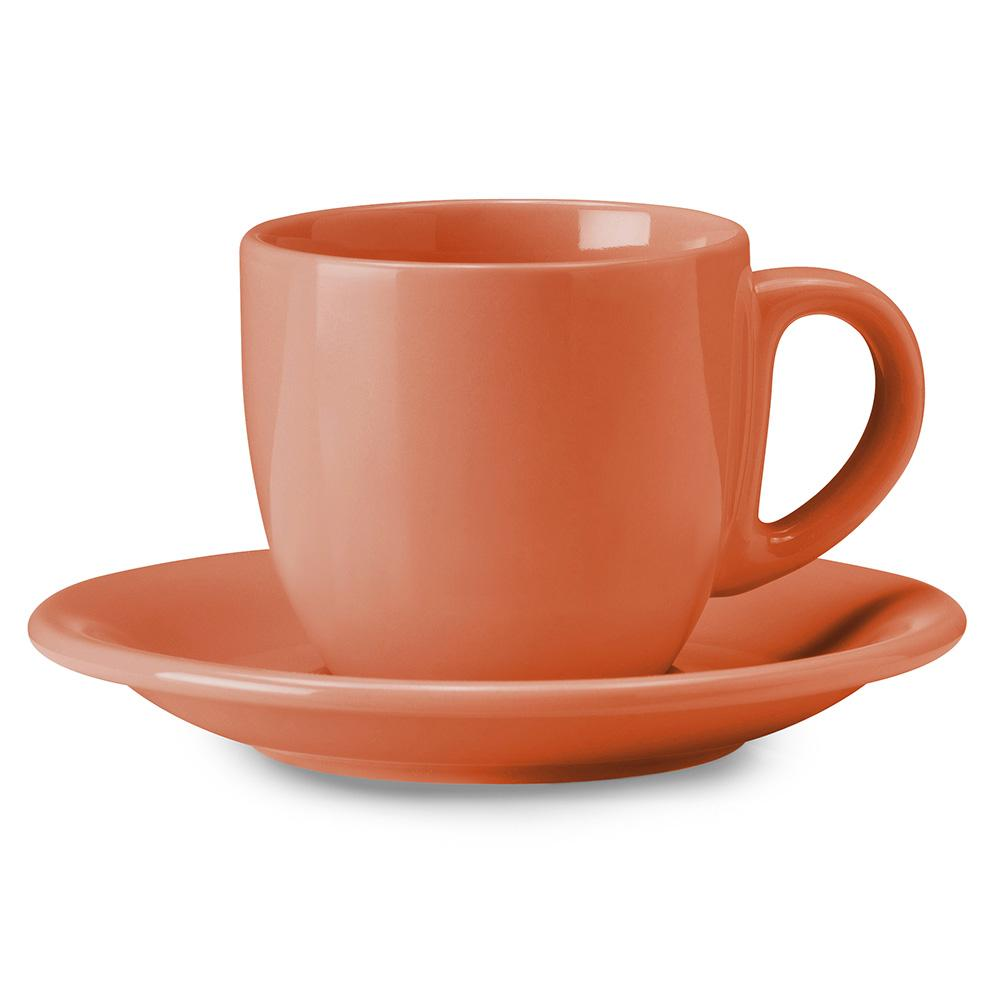 Image of Tazza da The Cappuccino con Piatto in Gres Kaleidos Corallo