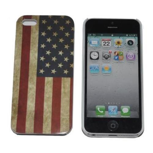 Image of Case Custodia Back Cover Rigida Per Iphone 5 Stampa Vintage Bandiera Usa
