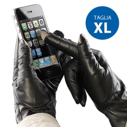 Image of Guanti In Pelle Per Touch Screen Capacitivi X Smartphone Tablet Iphone Ipad Ipod Tg Xl