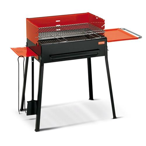 Image of Barbecue A Carbone Carbonella Con 2 Accessori Griglia In Ghisa Ferraboli Royal