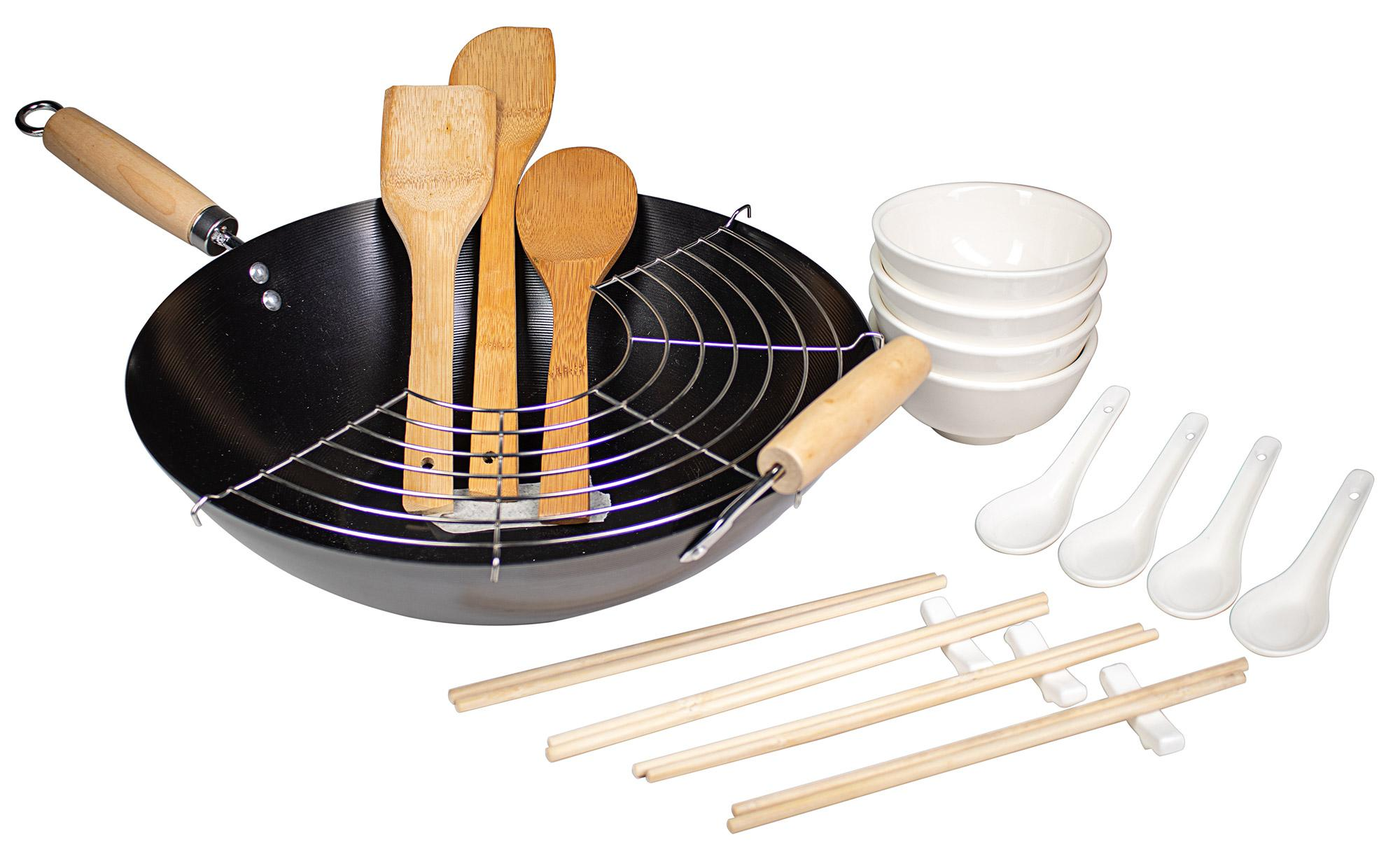Image of Wok Set 21 Pezzi Carbon Steel per Cucina Giapponese Collection Nero