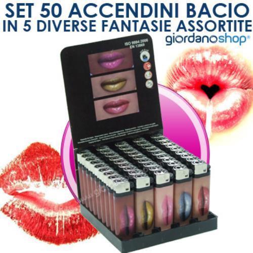 Image of Set Stock Di 50 Accendini Bacio In 5 Fantasie Assortite