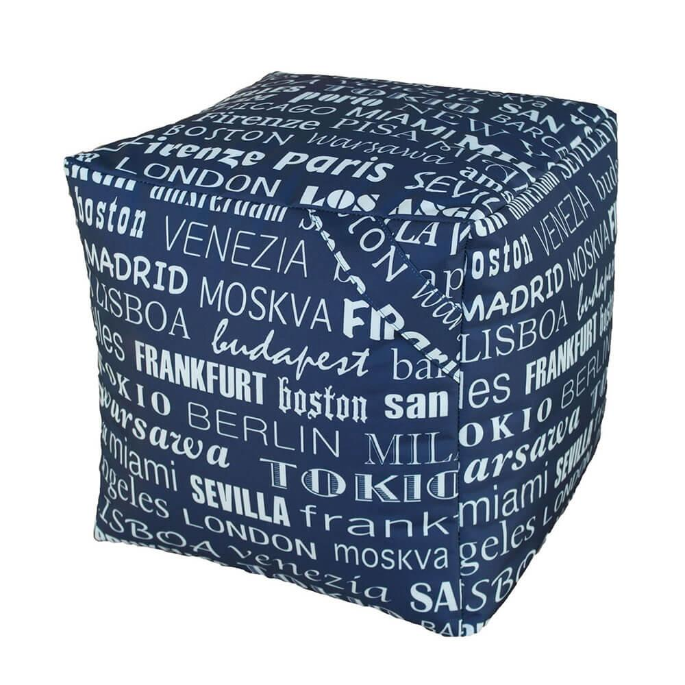 Foto Pouf Puff Puf Cubo 40x40x40cm Big City Blu Avalli Poltrone Pouf in Nylon