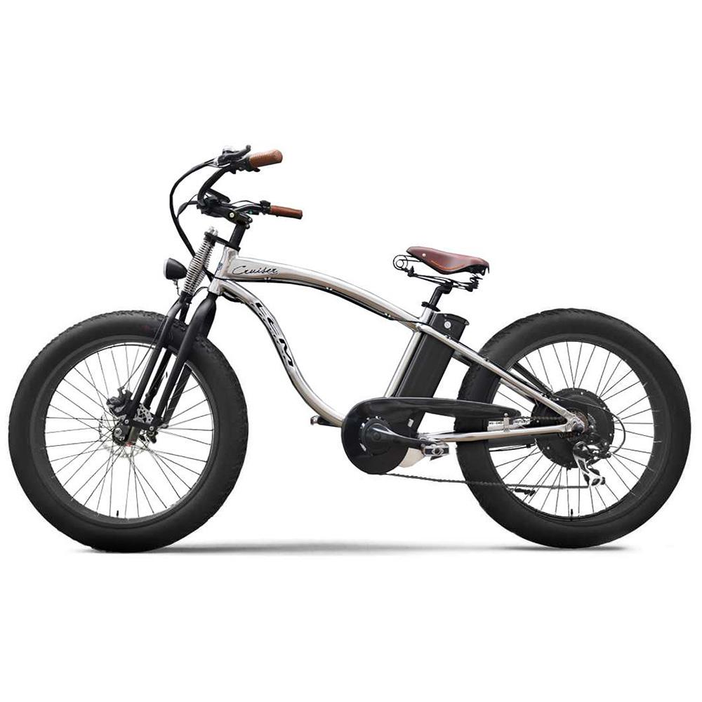 Image of E-Bike Bicicletta Elettrica 500W 48V Con Ruote Fat Lem Motor Cruiser Chrome