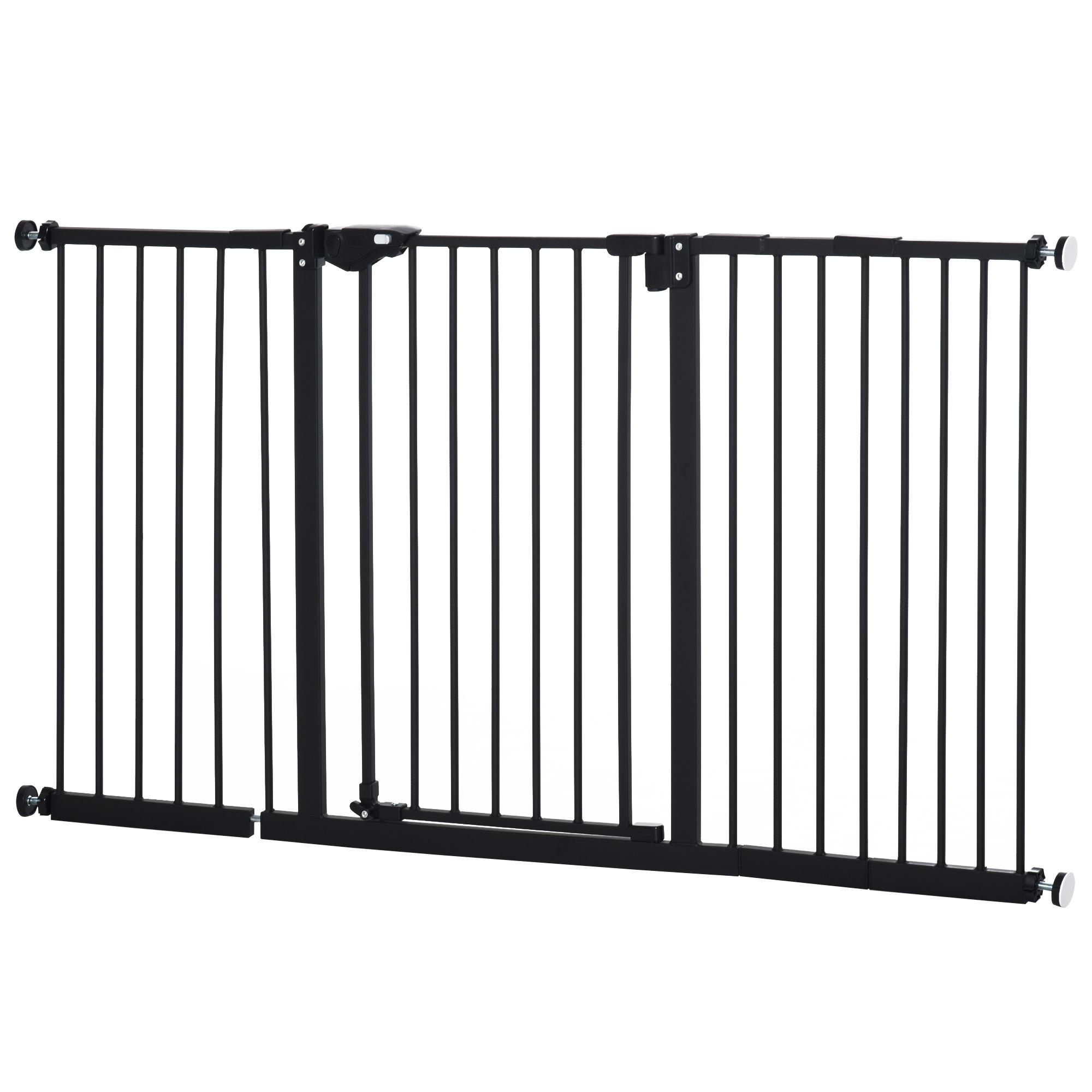 Cancelletto di Sicurezza per Animali Domestici 74 152,3 cm in Metallo Nero