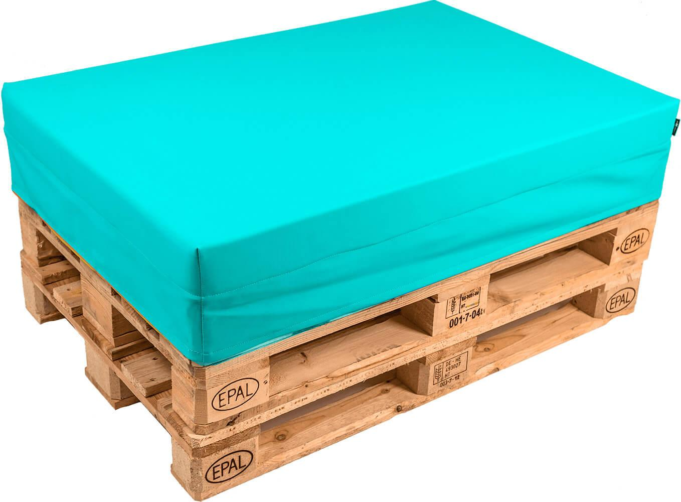 Image of Cuscino per Pallet 120x80cm in Ecopelle Pomodone Turchese