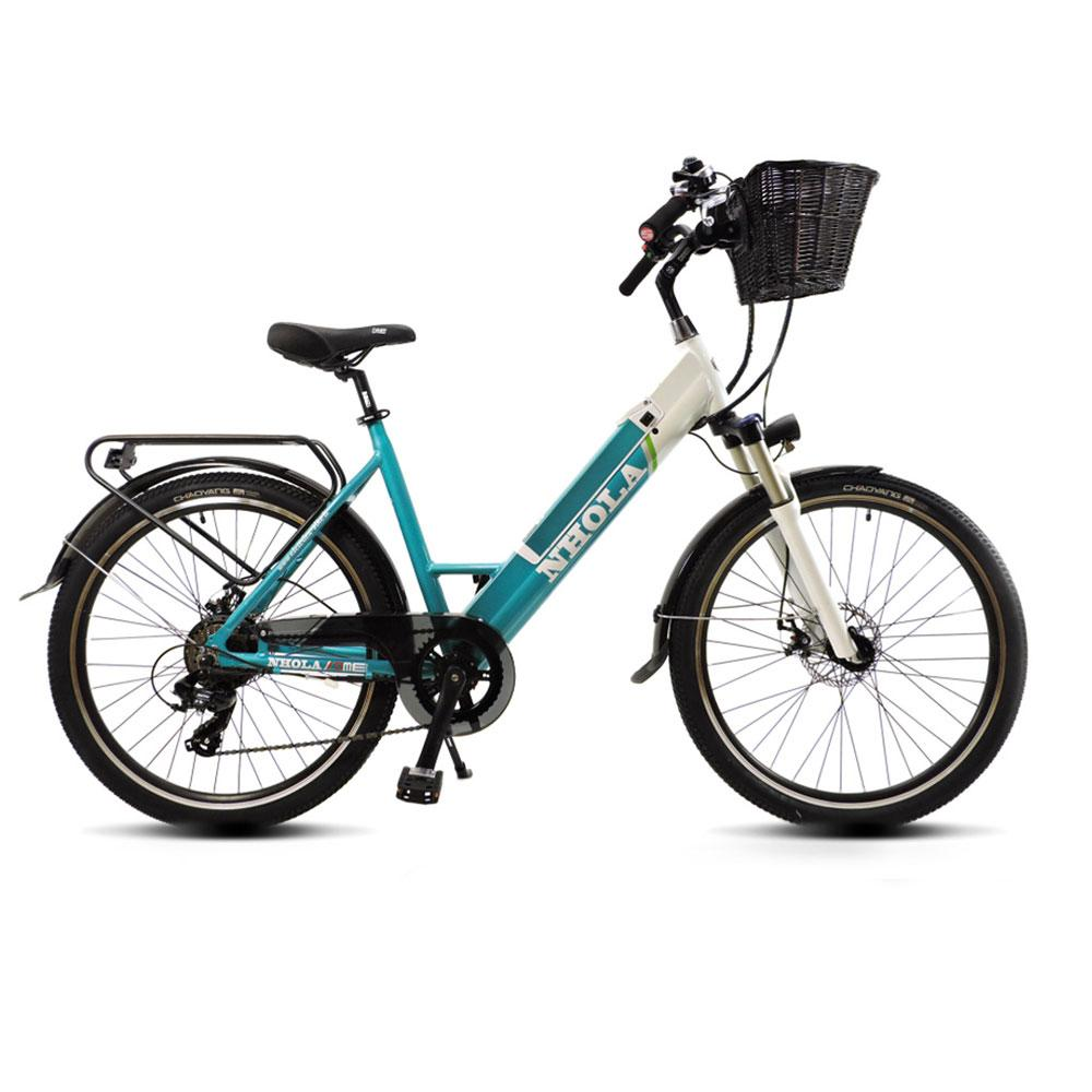 Image of Bicicletta Elettrica City-Bike a Pedalata Assistita 26� 250W DME Bike Nhola Turchese/Bianco