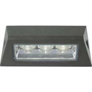 Applique Stagna Alluminio Pressofuso Antracite Esterno Led 3 watt Luce Naturale Intec LED-OSAKA-AP