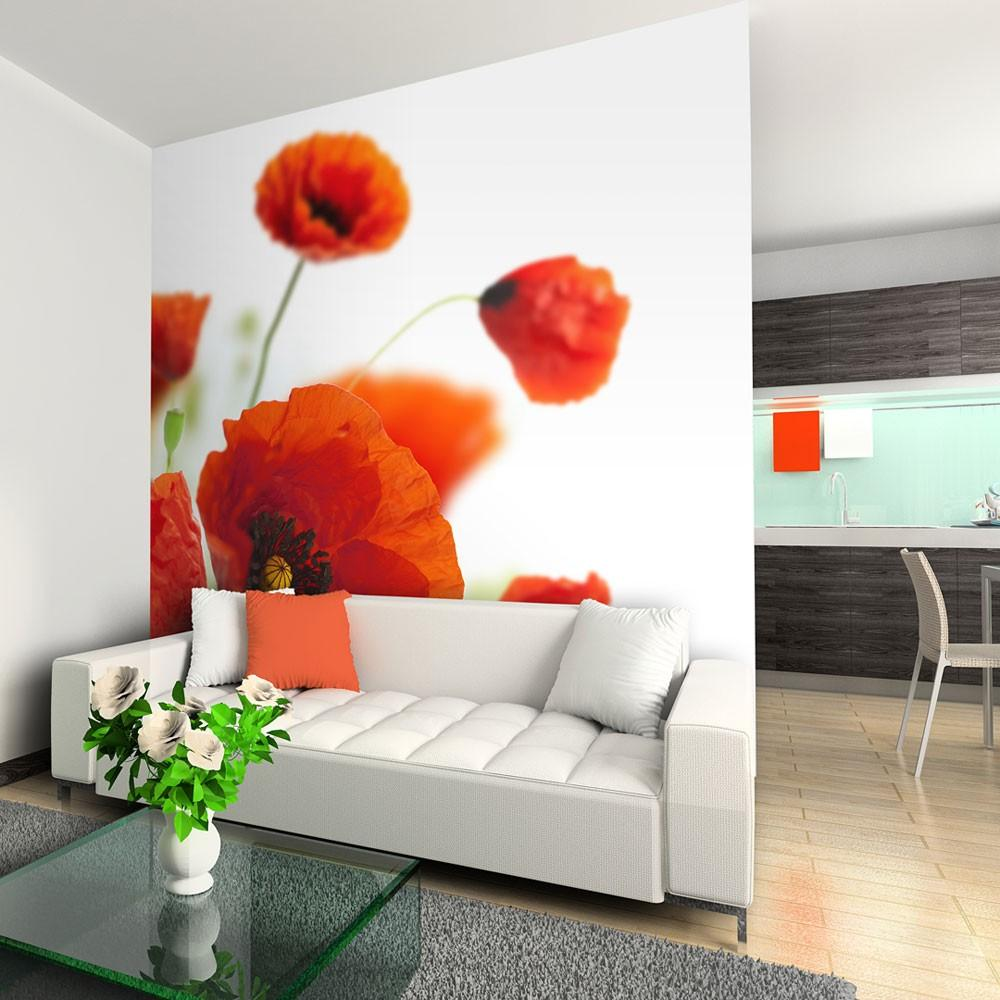 Fotomurale - Poppies On The Wihite Background 400X309Cm Carta Da Parato Erroi