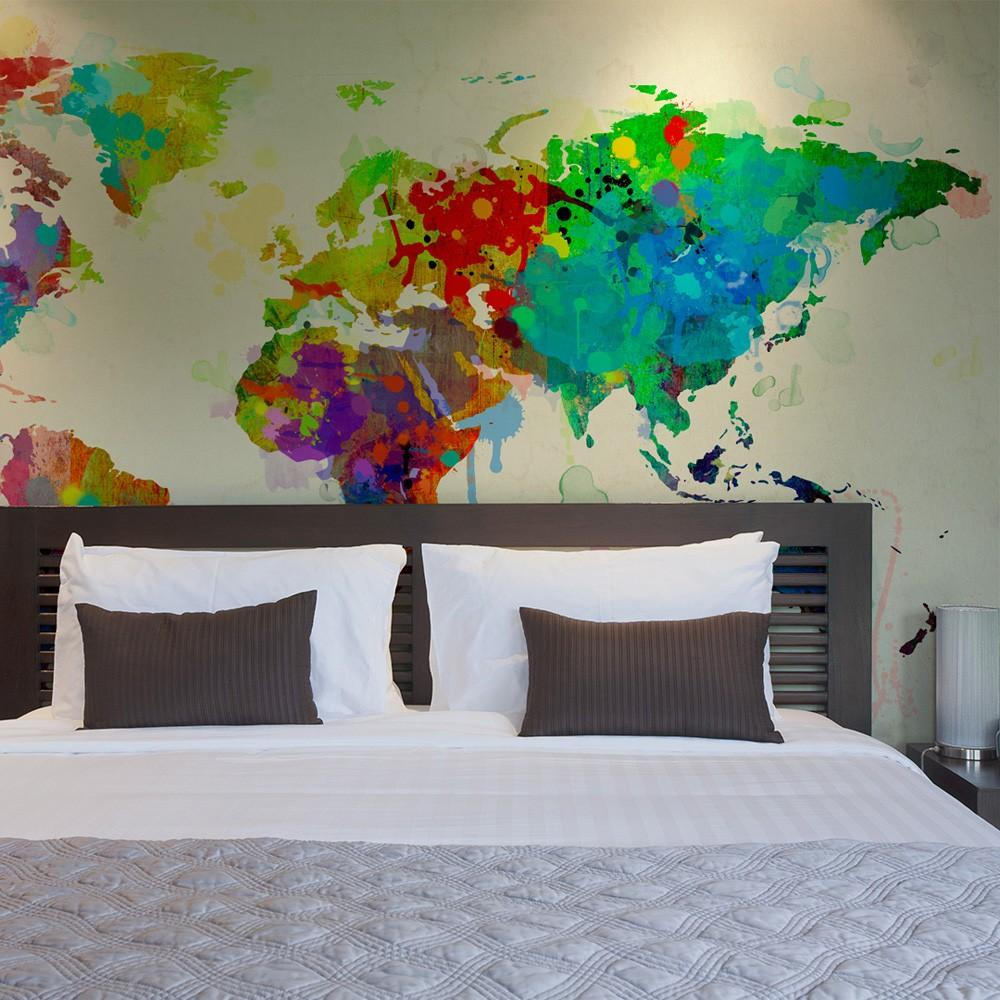 Fotomurale - Paint Splashes Map Of The World 400X309Cm Carta Da Parato Erroi