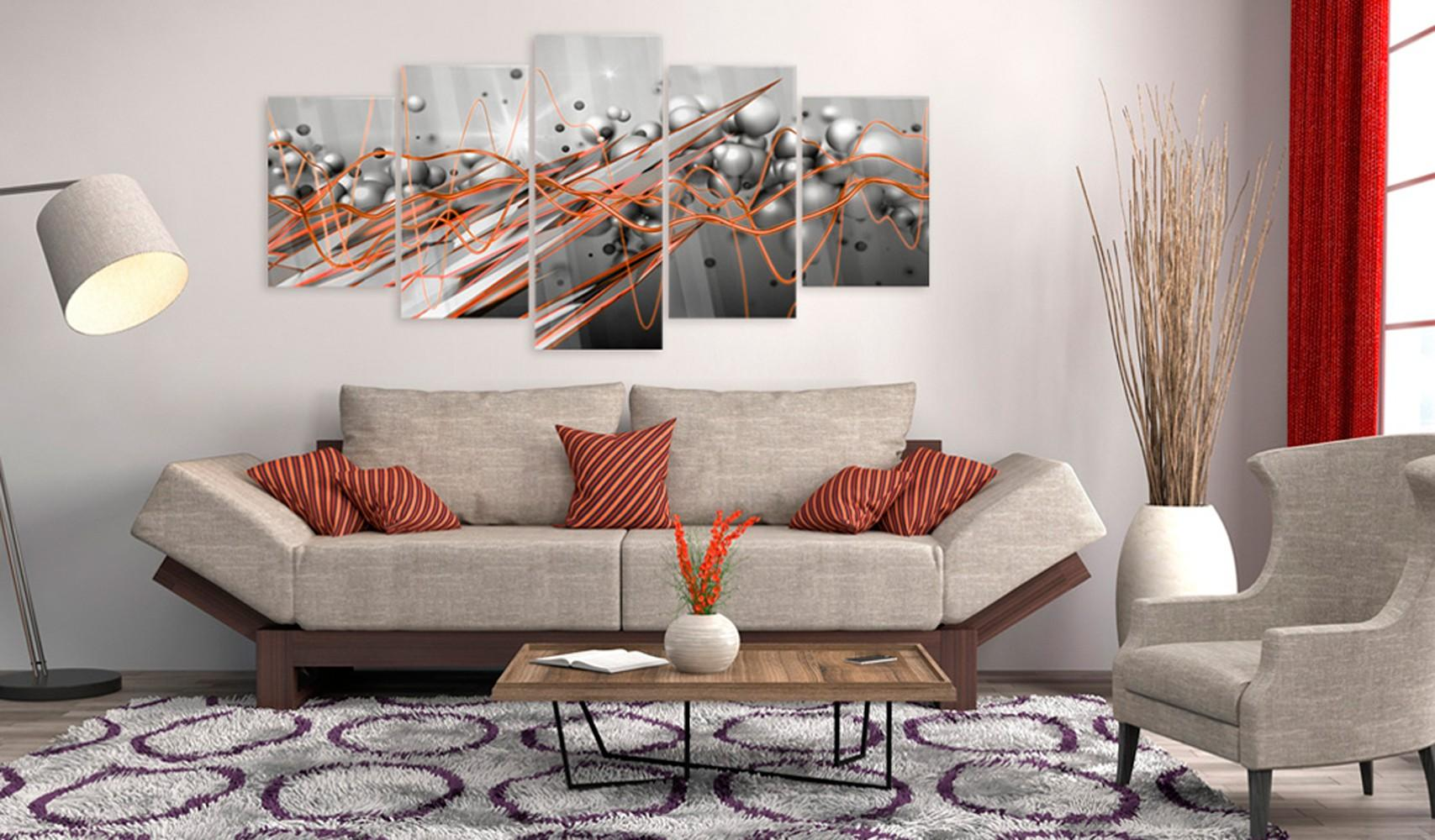 Quadro Su Vetro Acrilico - Orange Stream 100x50cm Erroi