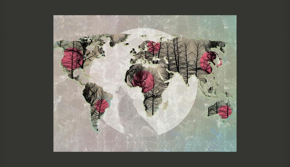 Fotomurale - Map Of The World - Howling To The Moon 350X270Cm Carta Da Parato Erroi