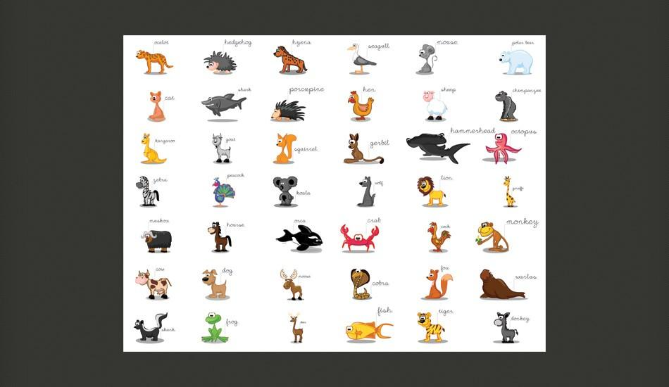 Fotomurale - Learning By Playing Animals 350X270Cm Carta Da Parato Erroi