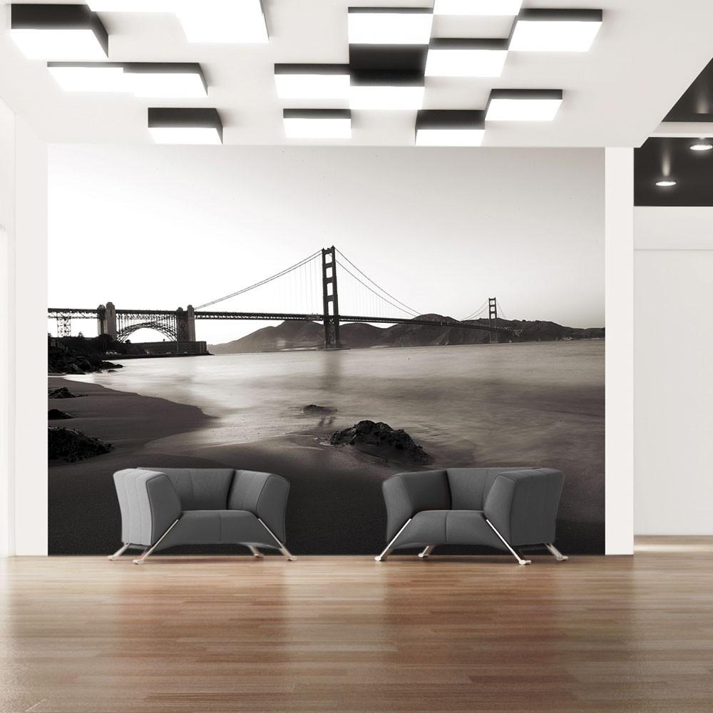 Fotomurale - San Francisco: Il Golden Gate In Bianco E Nero 350X270Cm Carta Da Parato Erroi