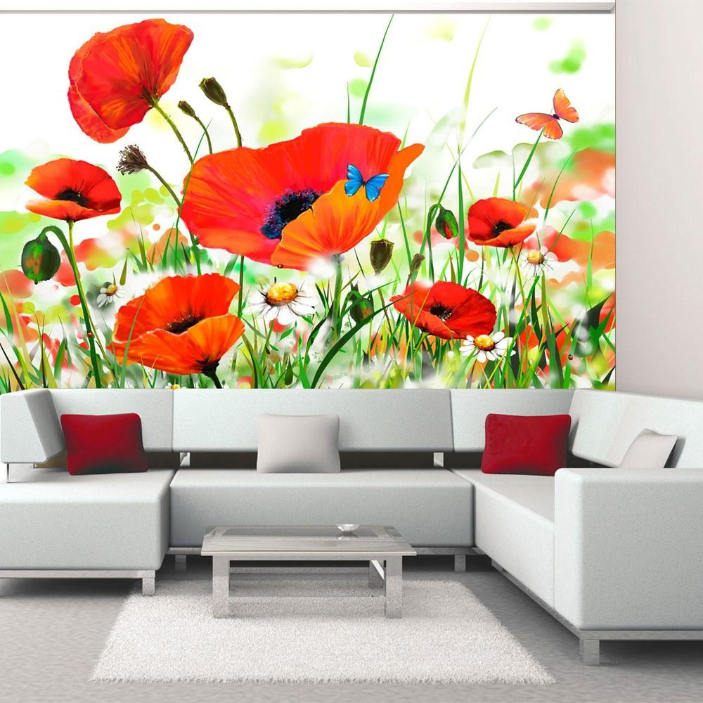 Fotomurale - Country Poppies 350X270Cm Carta Da Parato Erroi