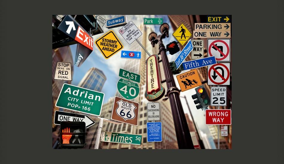 Fotomurale - New York Signposts 200X154Cm Carta Da Parato Erroi