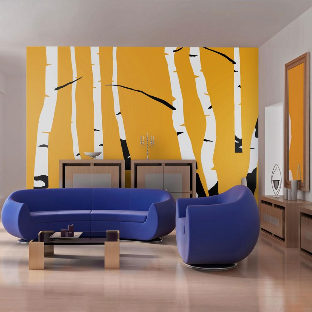Fotomurale - Birches On The Orange Background 200X154Cm Carta Da Parato Erroi