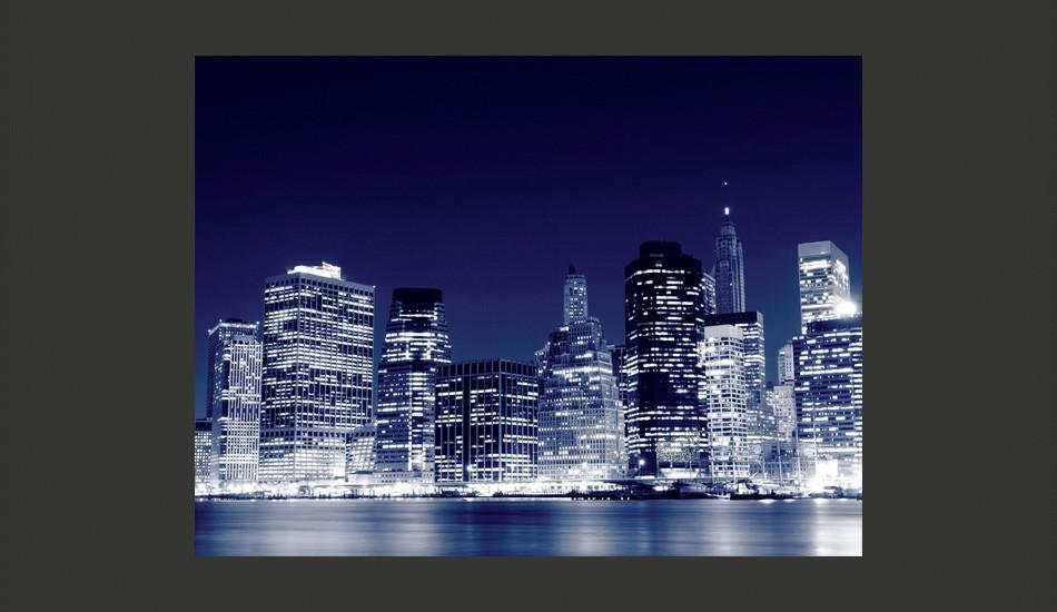 Fotomurale - Lo Skyline Di Manhattan Di Notte, New York City 200X154Cm Carta Da Parato Erroi