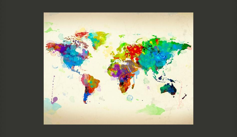 Fotomurale - Paint Splashes Map Of The World 200X154Cm Carta Da Parato Erroi