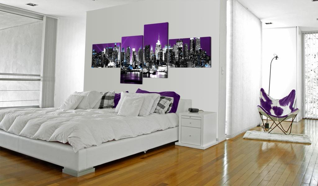 Quadro - New York Su Sfondo Viola 200X90Cm Erroi