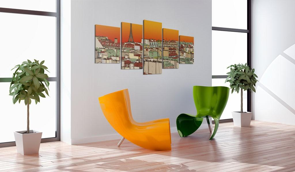 Quadro - Cielo Parigino Color Arancio 200X100Cm Erroi