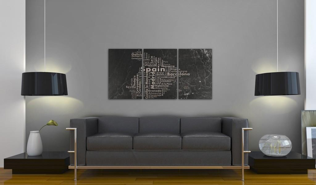 Quadro - Map Of Spain On The Blackboard - Triptich 120X60Cm Erroi