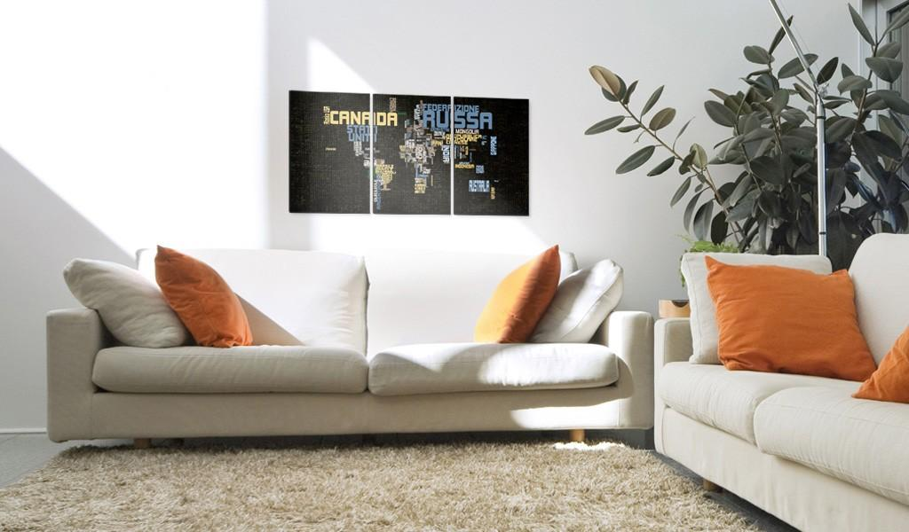 Quadro - Italian Map Of The World On Texture Background 60X30Cm Erroi