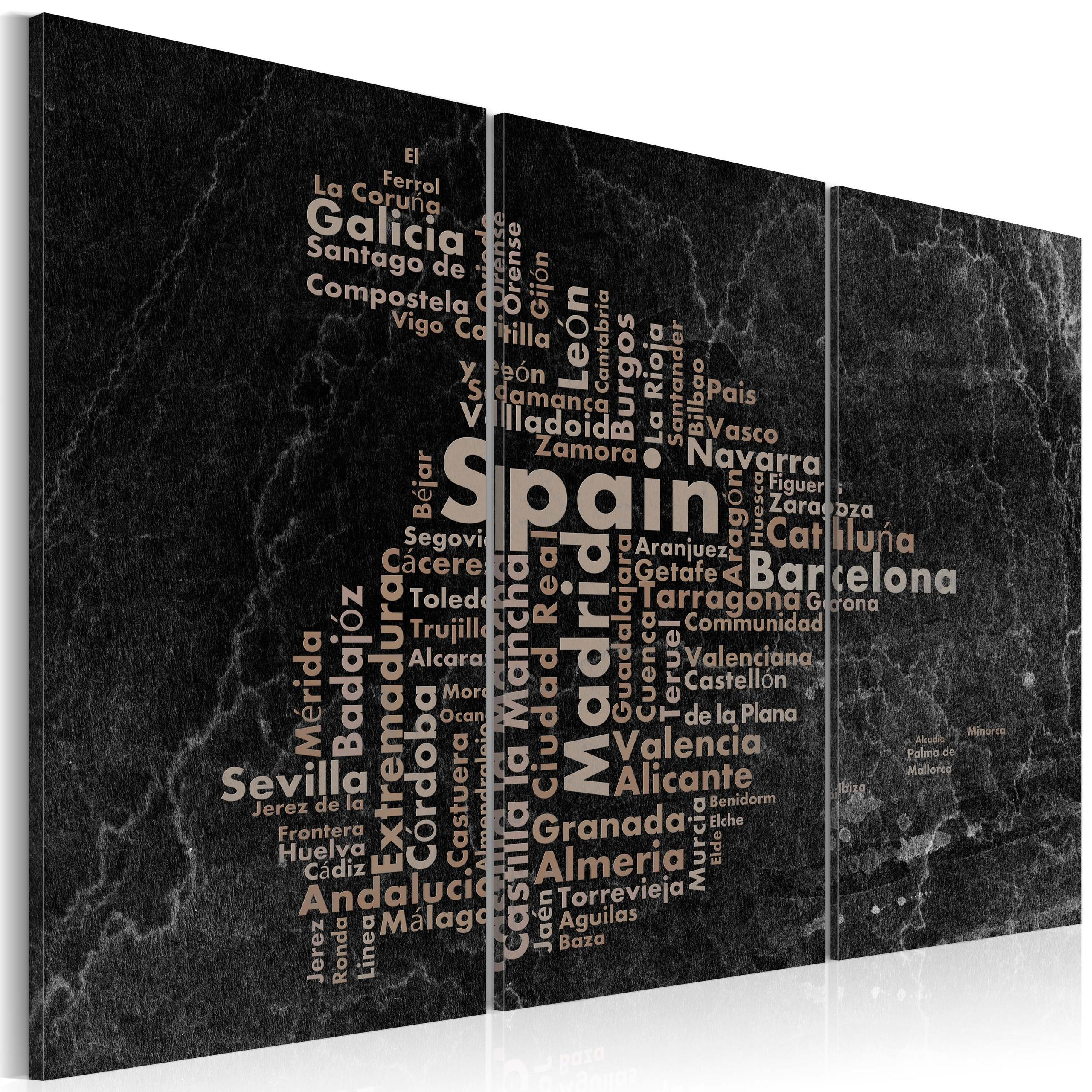 Quadro - Text Map Of Spain On The Blackboard - Triptych 120X80Cm Erroi