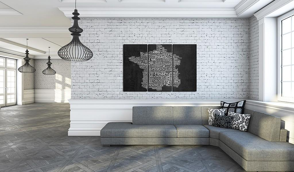 Quadro - Text Map Of France On The Black Background - Triptych 120X80Cm Erroi