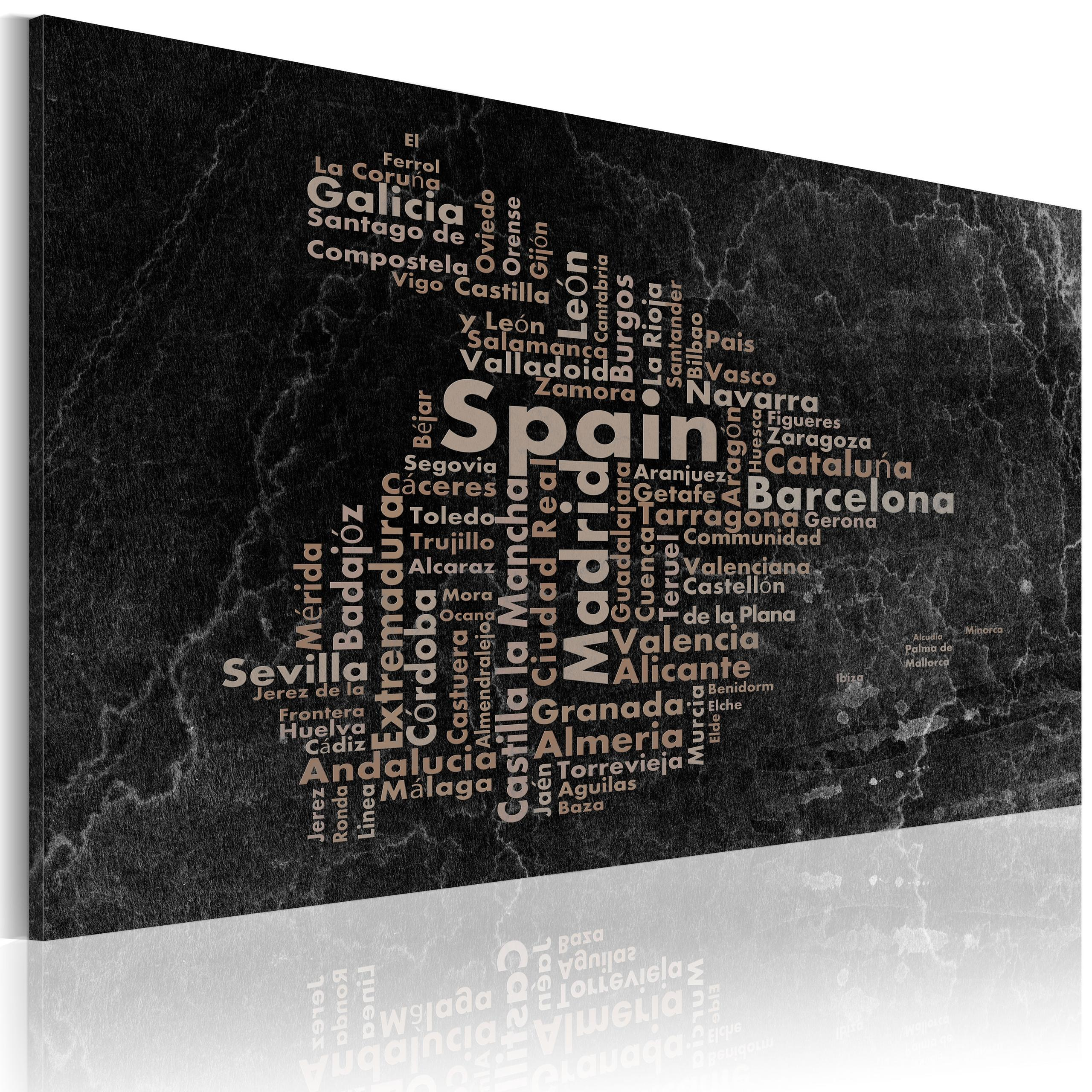 Quadro - Text Map Of Spain On The Blackboard 90X60Cm Erroi