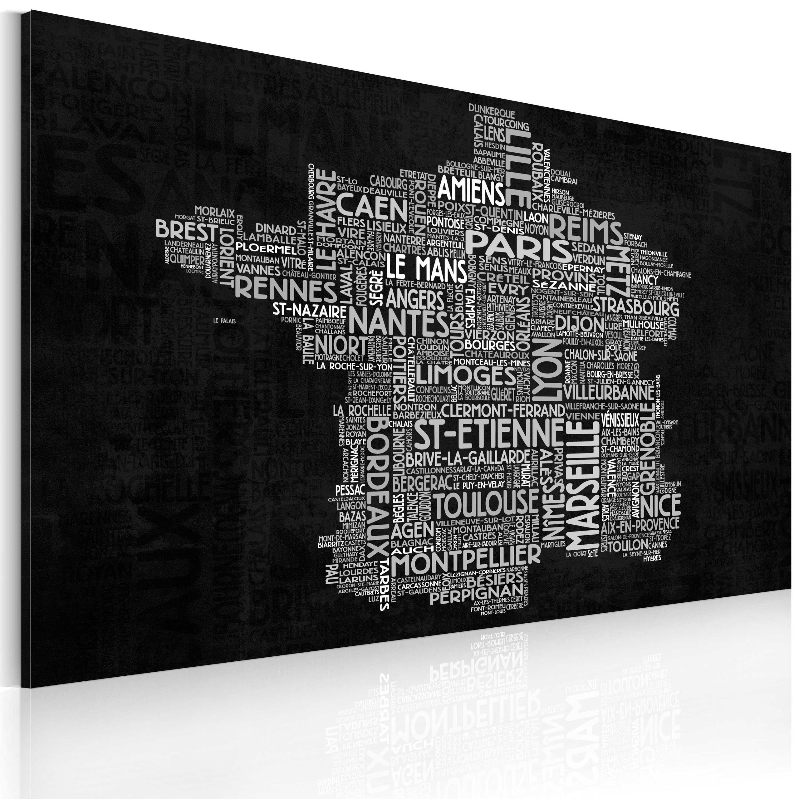 Quadro - Text Map Of France On The Black Background 90X60Cm Erroi