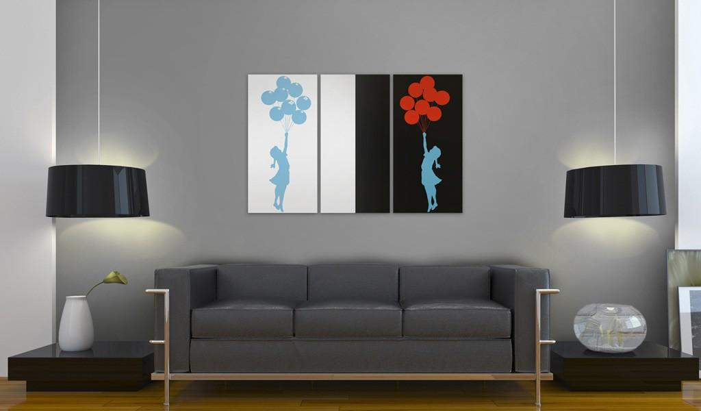 Quadro - Floating Balloon Girl - Triptych 60X40Cm Erroi
