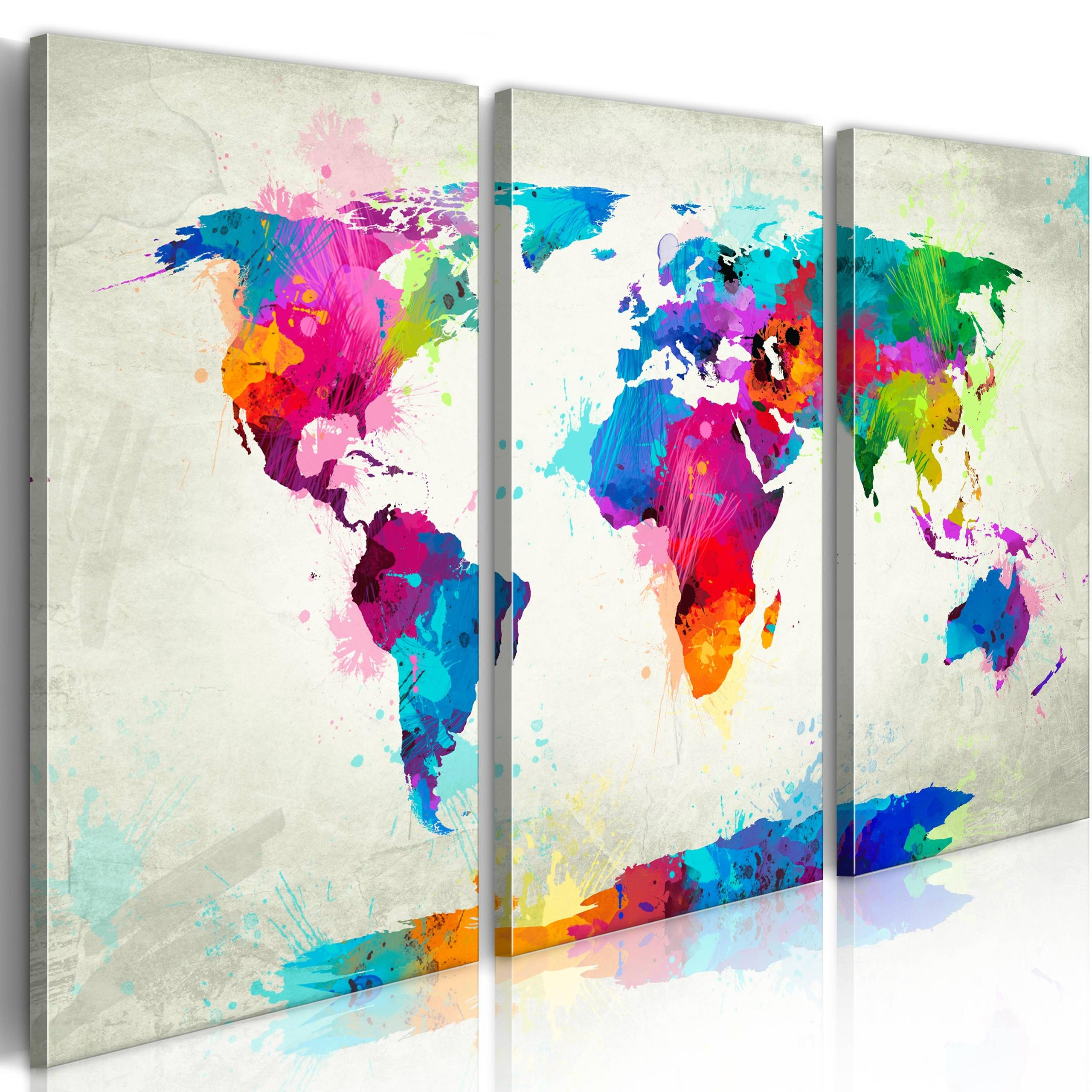 Quadro - World Map: An Explosion Of Colors 60X40Cm Erroi