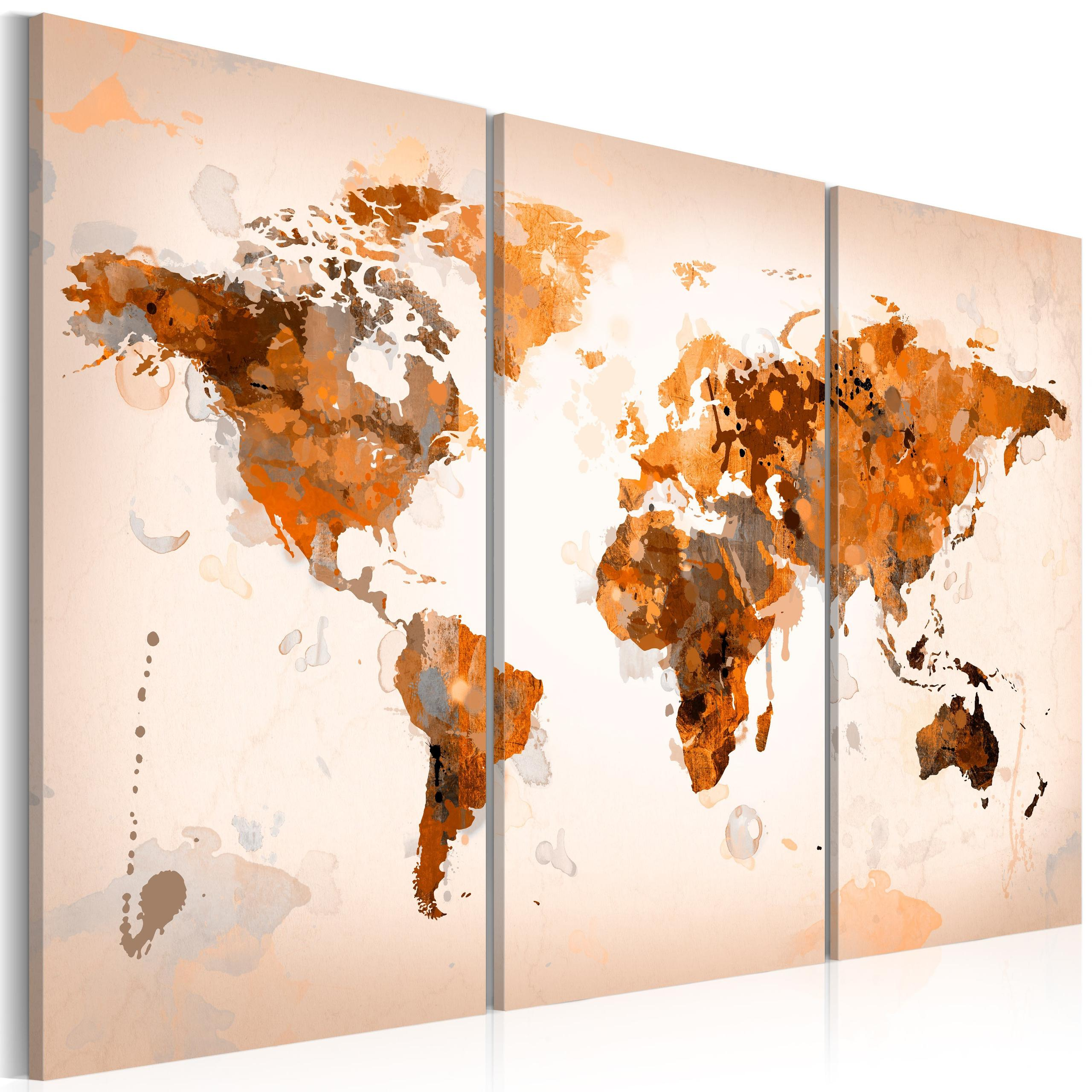 Quadro - Map Of The World - Desert Storm - Triptych 60X40Cm Erroi