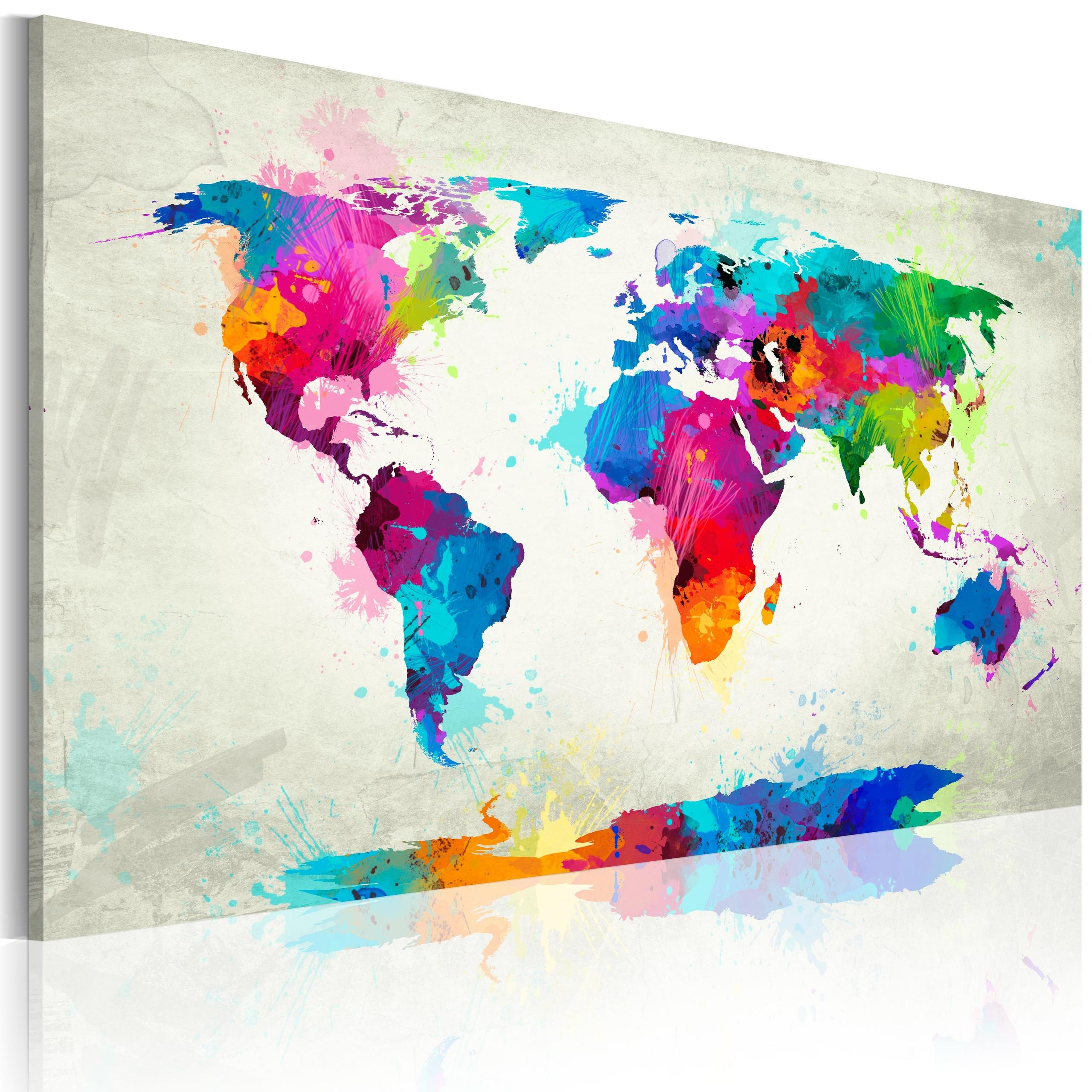 Quadro - Map Of The World - An Explosion Of Colors 60X40Cm Erroi