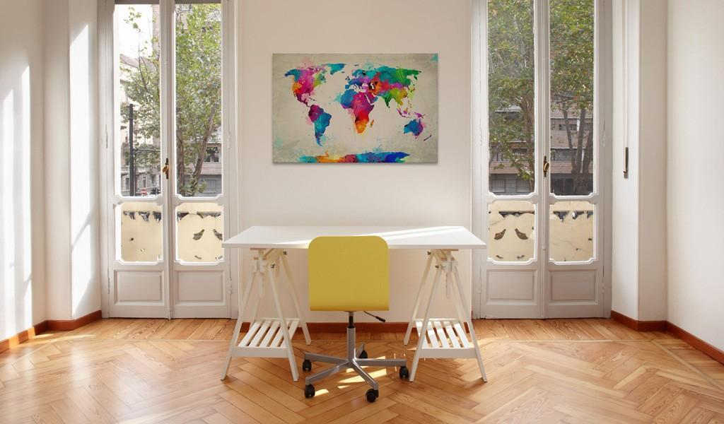 Quadro - Map Of The World - An Explosion Of Colors 90X60Cm Erroi