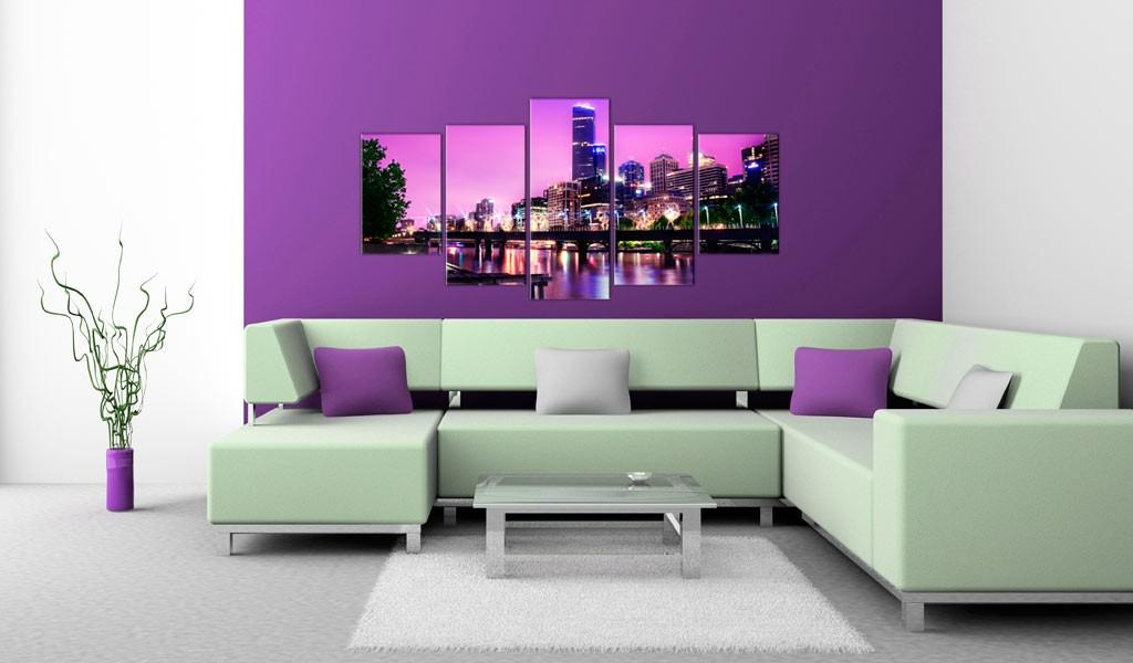 Quadro - Night Urban City Skyline - Melbourne 100X50Cm Erroi