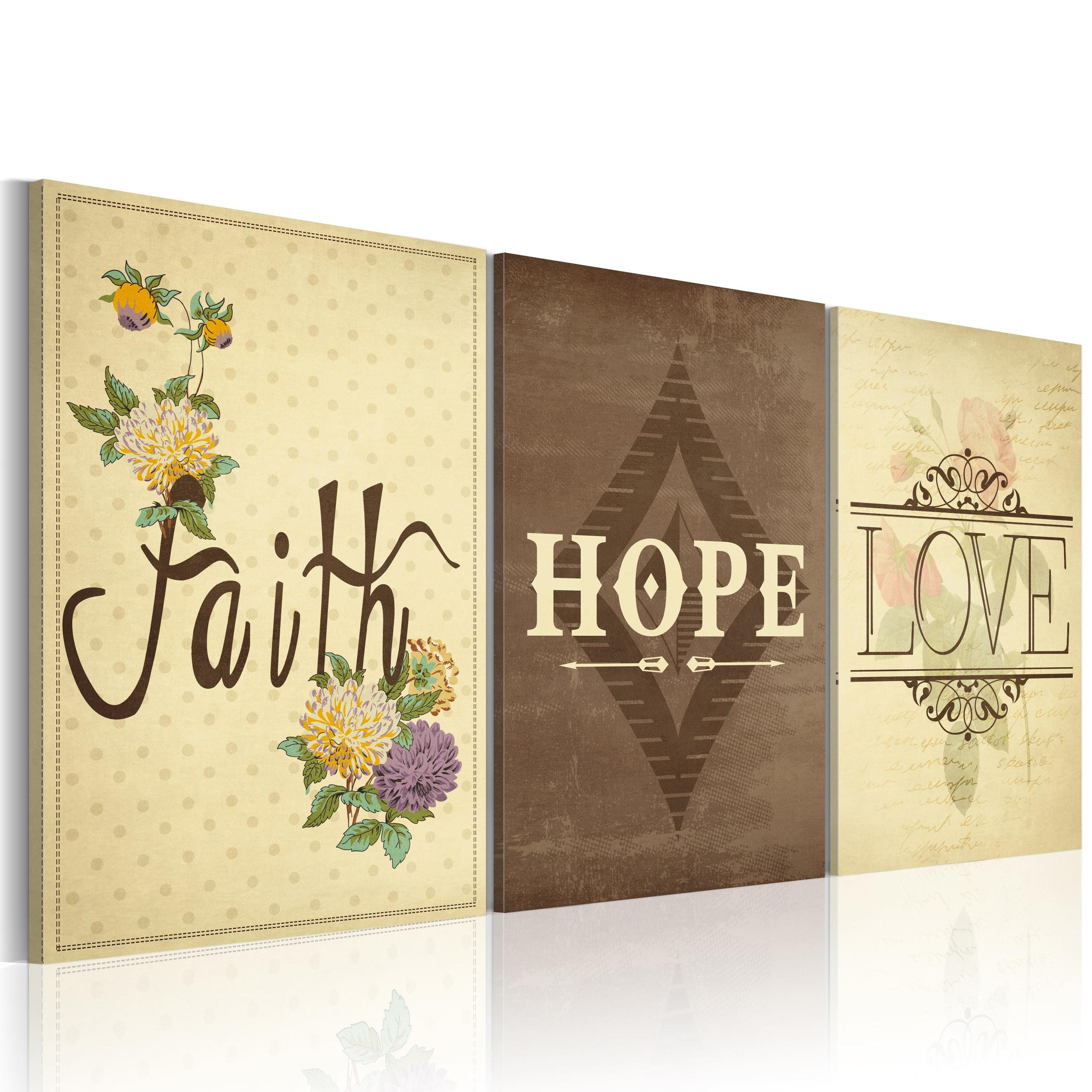 Quadro - Faith, Hope & Love 60X40Cm Erroi