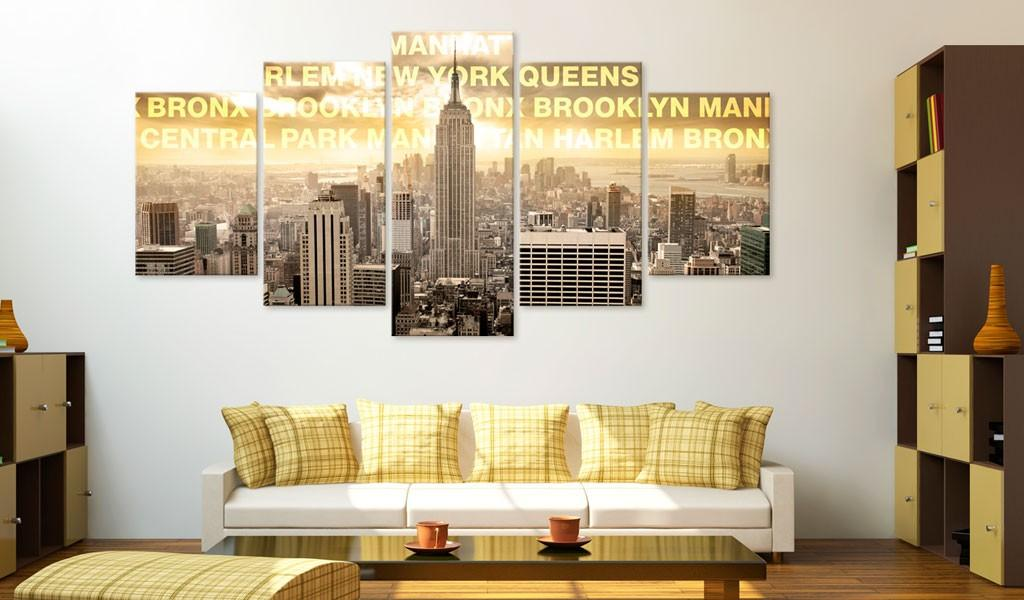 Quadro - Manhattan, Queens, Bronx, Central Park 100X50Cm Erroi