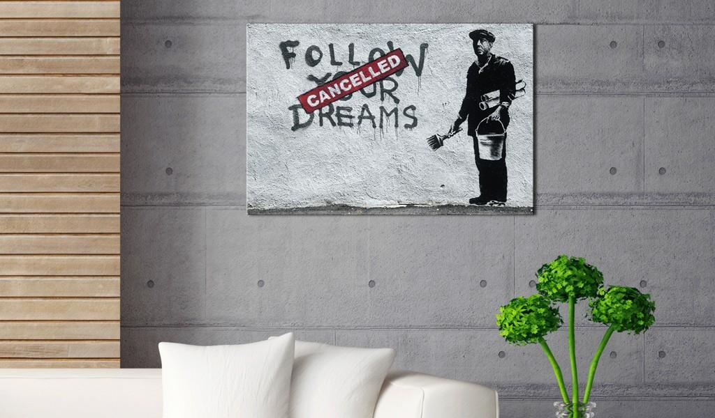Quadro - Follow Your Dreams Cancelled By Banksy 60X40Cm Erroi
