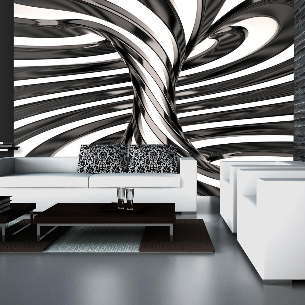 Fotomurale - Black And White Swirl 350X245Cm Carta Da Parato Erroi