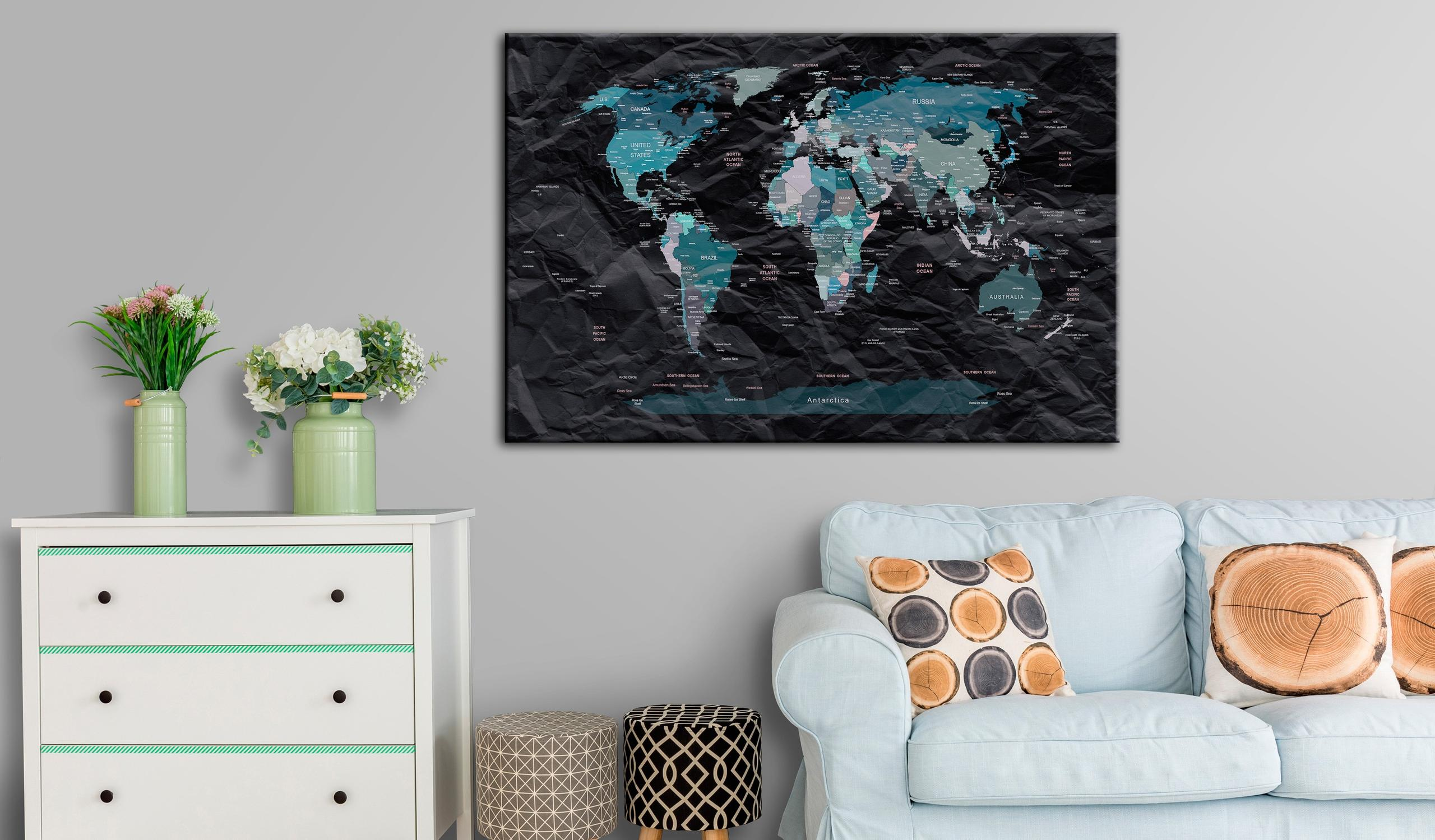 Quadro Di Sughero - Black Ocean [Cork Map] 90x60cm Erroi