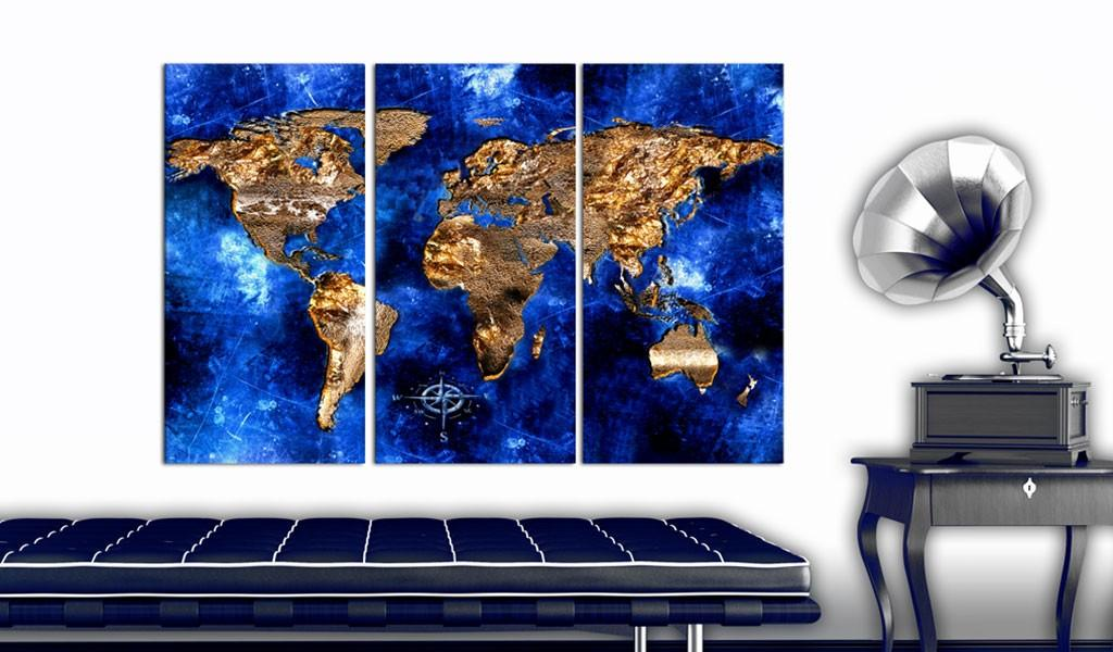 Quadro Di Sughero - Golden Continents [Cork Map] 120x80cm Erroi