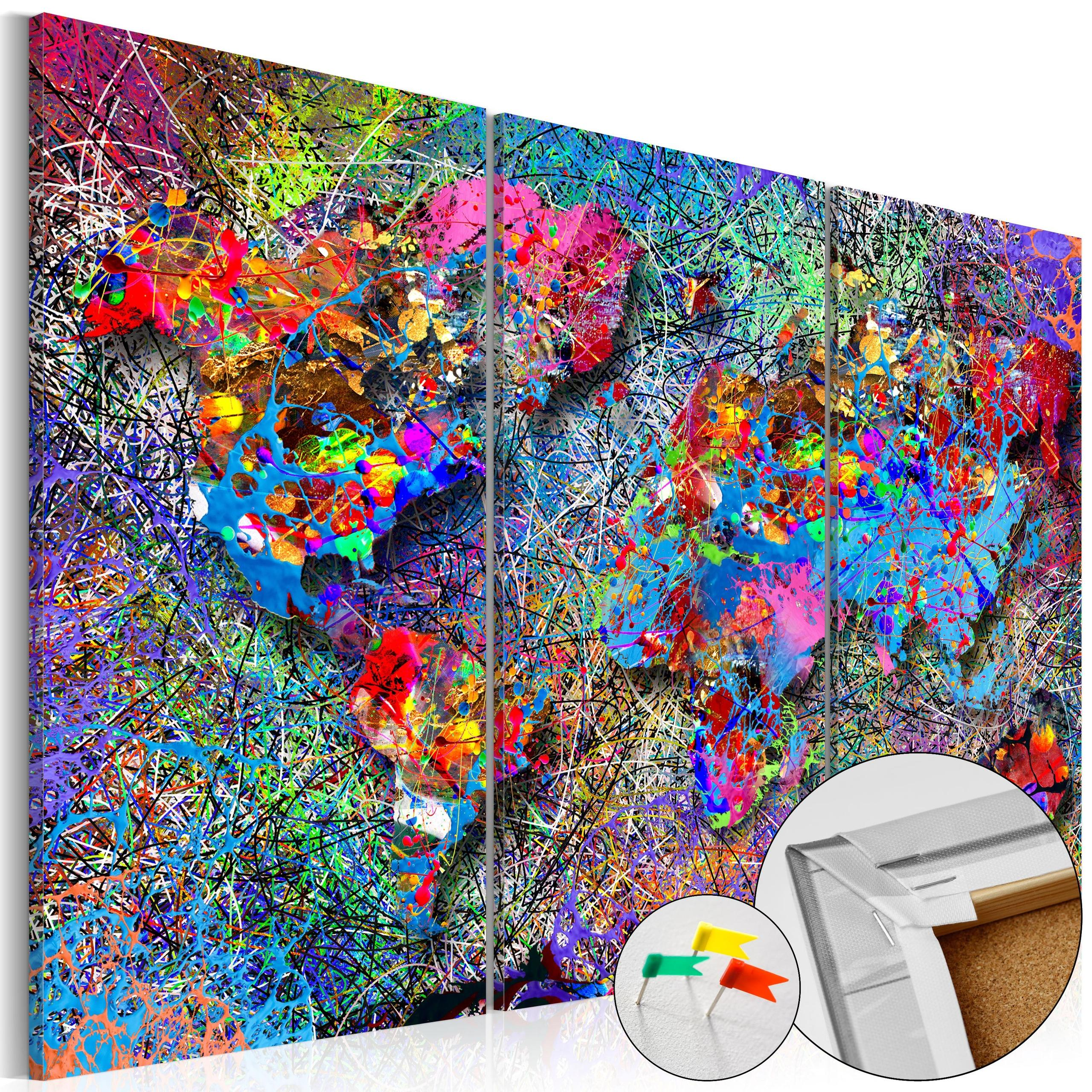 Quadro Di Sughero - Colourful Whirl [Cork Map] 120x80cm Erroi