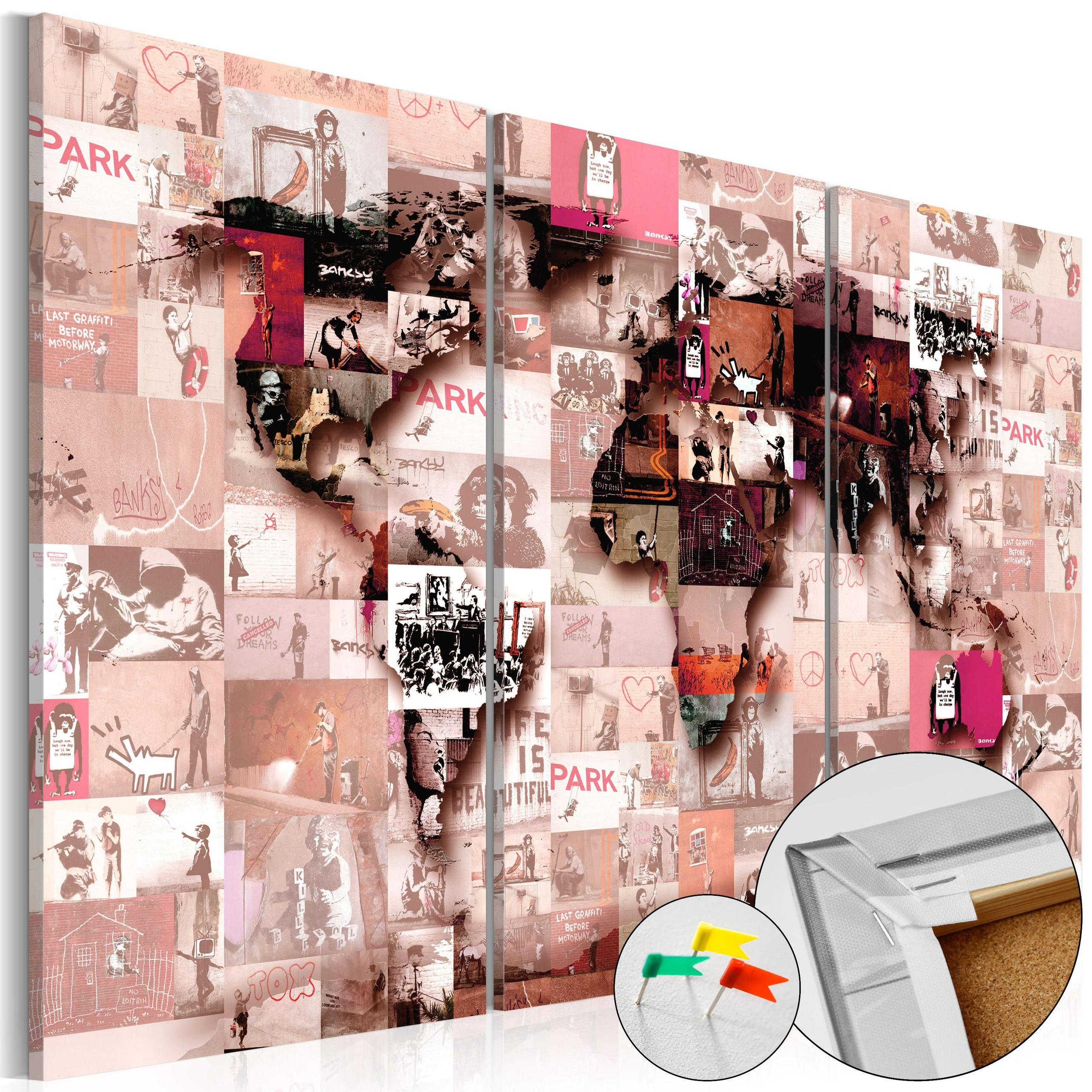 Quadro Di Sughero - Banksy Graffiti Collage [Cork Map] 90x60cm Erroi