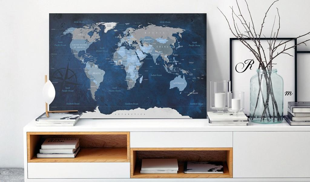 Quadro Di Sughero - Dark Blue World [Cork Map] 90x60cm Erroi