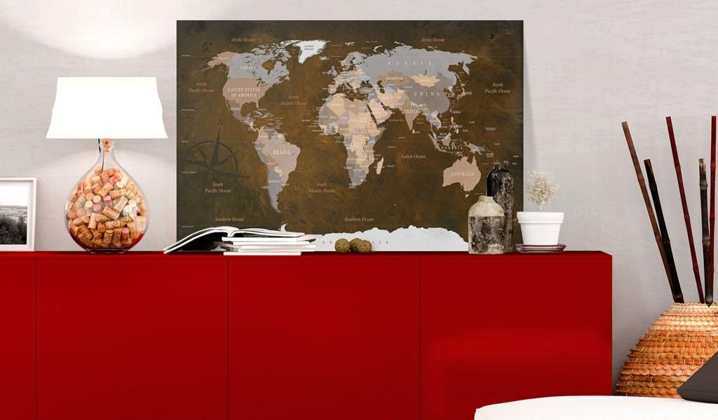 Quadro Di Sughero - Cinnamon Travels [Cork Map] 120x80cm Erroi