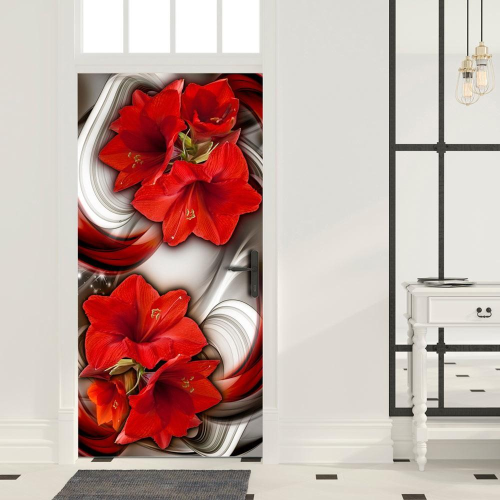 Carta Da Parati Fotomurale Per Porta - Abstraction And Red Flowers I 100x210cm Erroi